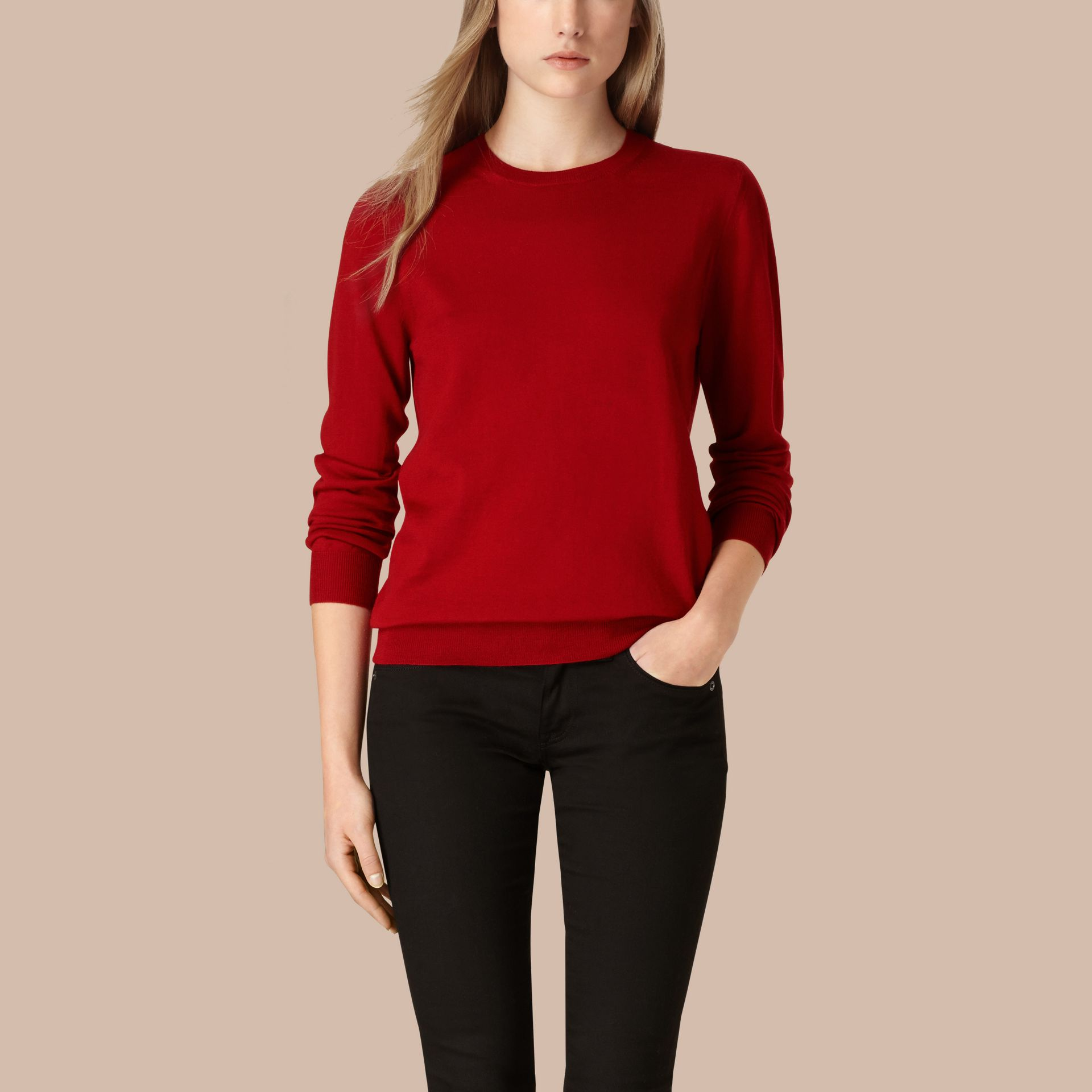 Check Detail Merino Wool Crew Neck Sweater in Parade Red - Women | Burberry - gallery image 1