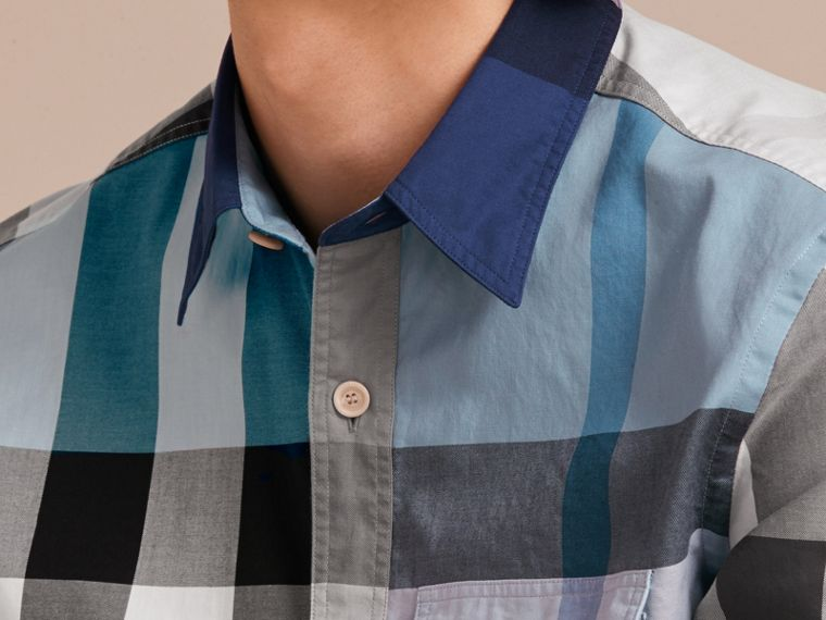 Check Cotton Poplin Shirt Pale Blue - cell image 4