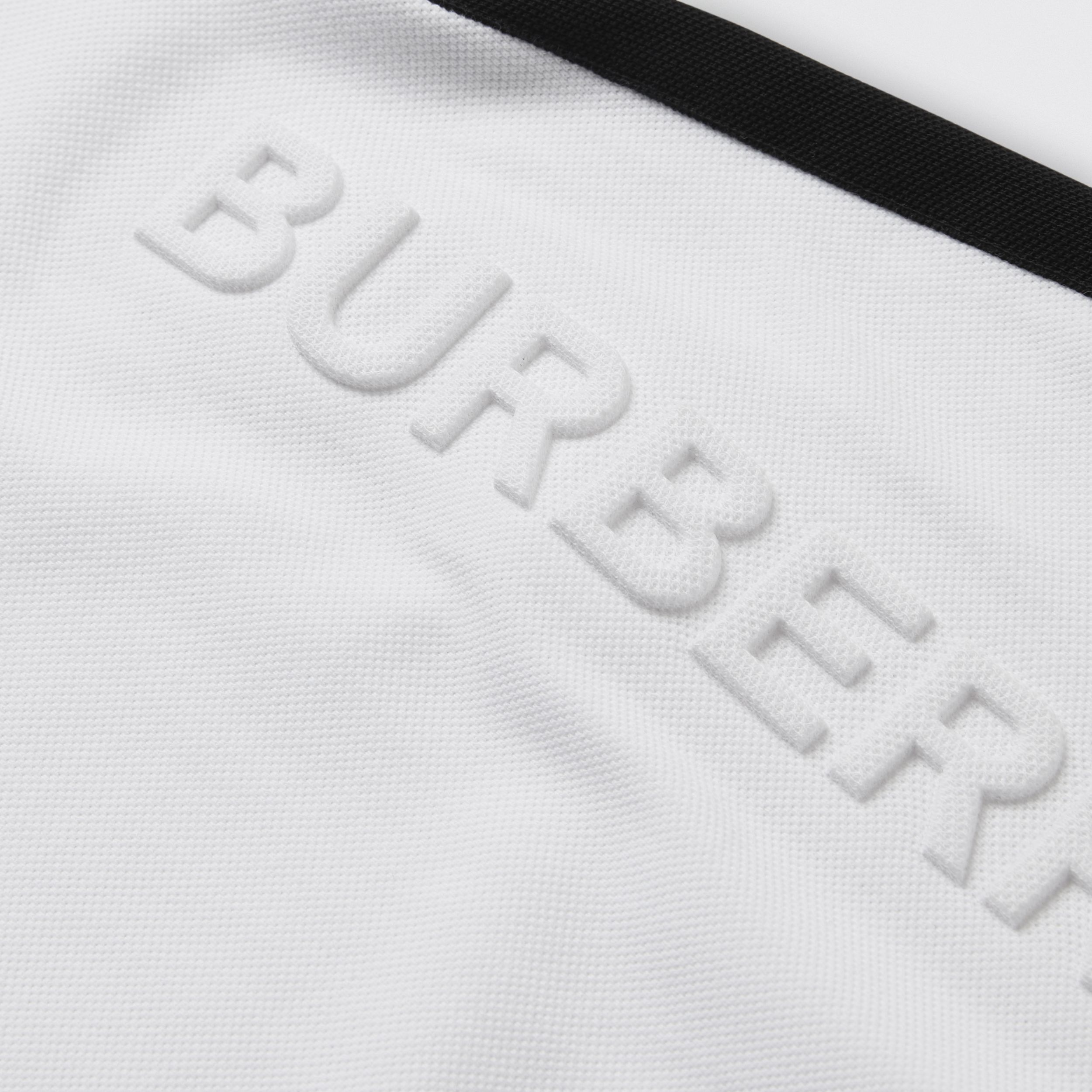 Embossed Logo Cotton Polo Dress in White | Burberry - 2