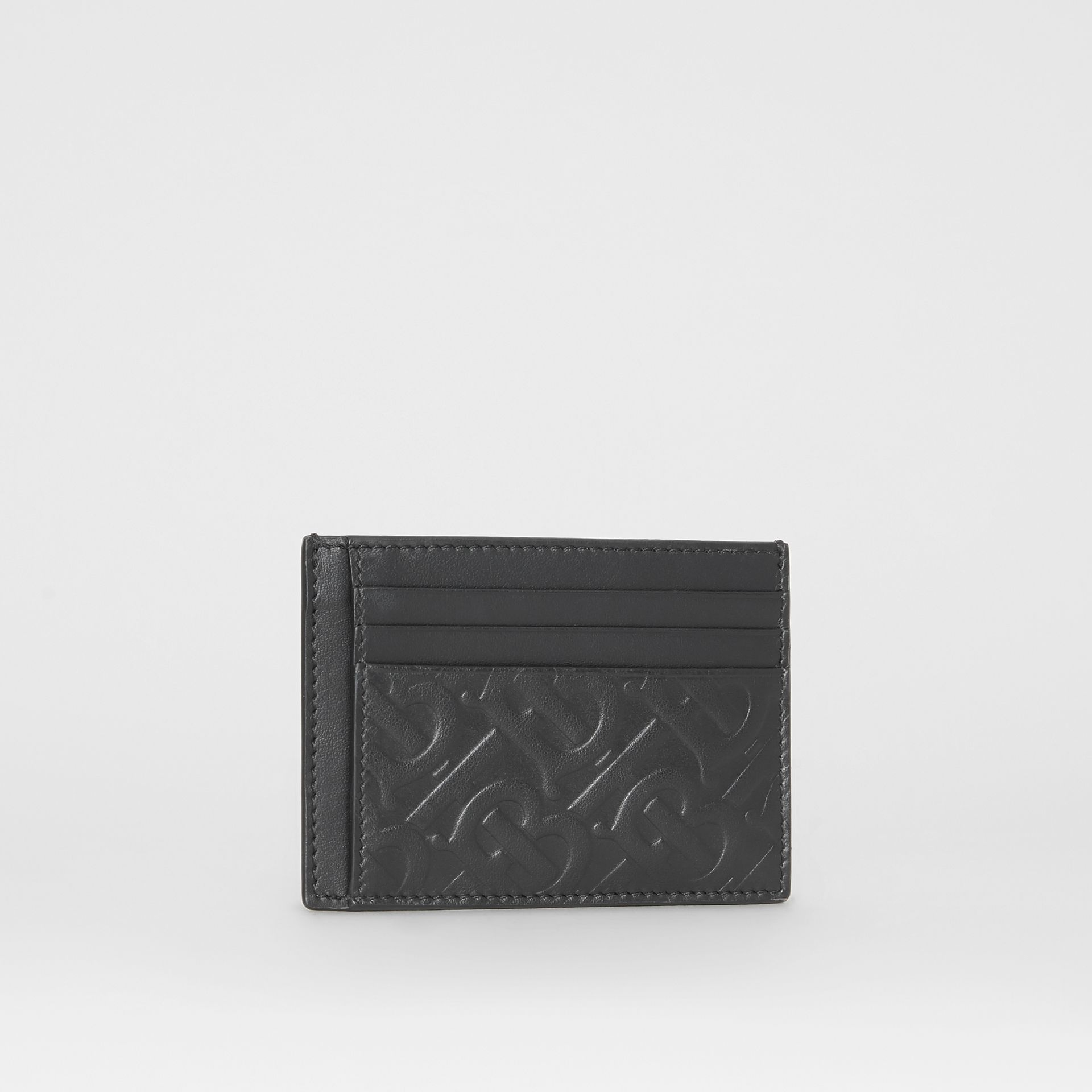 Monogram Leather Card Case in Black - Men | Burberry Australia - gallery image 3