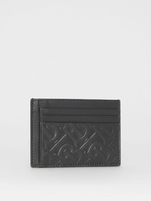 Monogram Leather Card Case in Black - Men | Burberry - cell image 3
