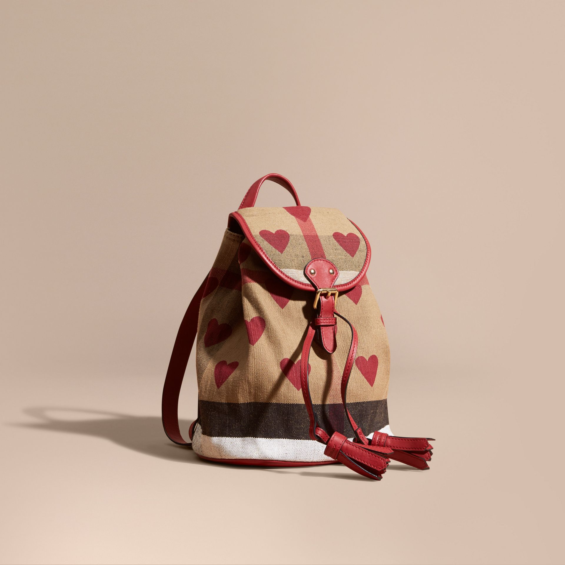 Parade red Heart Print Canvas Check Mini Backpack - gallery image 1