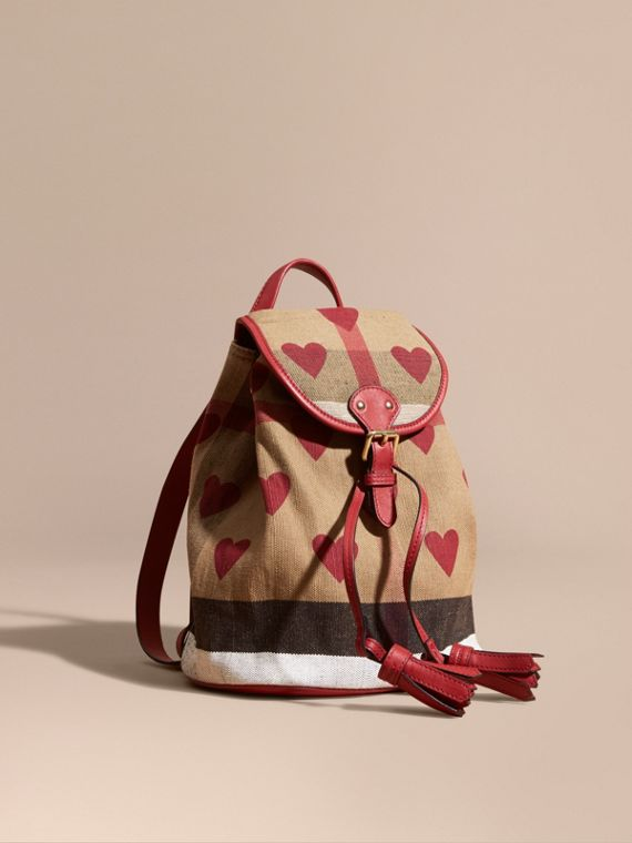 Heart Print Canvas Check Mini Backpack