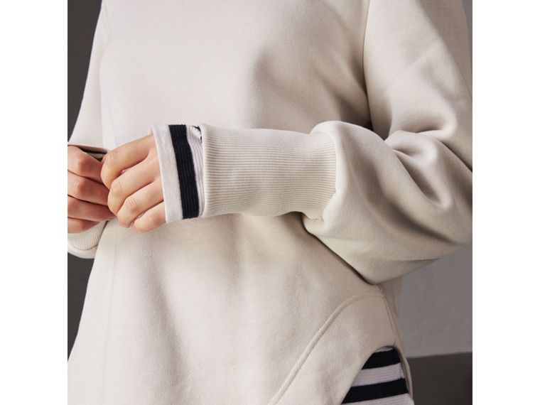 Curved Hem Jersey Sweatshirt in Winter White - Women | Burberry - cell image 1