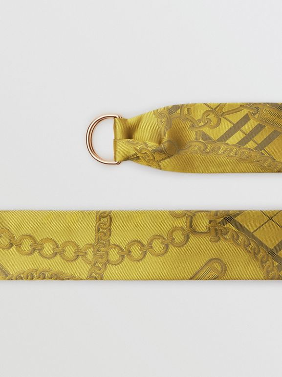 D-ring Detail Chain Silk Jacquard Skinny Scarf in Citrine | Burberry - cell image 1