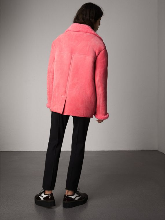 Leather Trim Shearling Oversized Jacket in Copper Pink - Women | Burberry Singapore - cell image 2