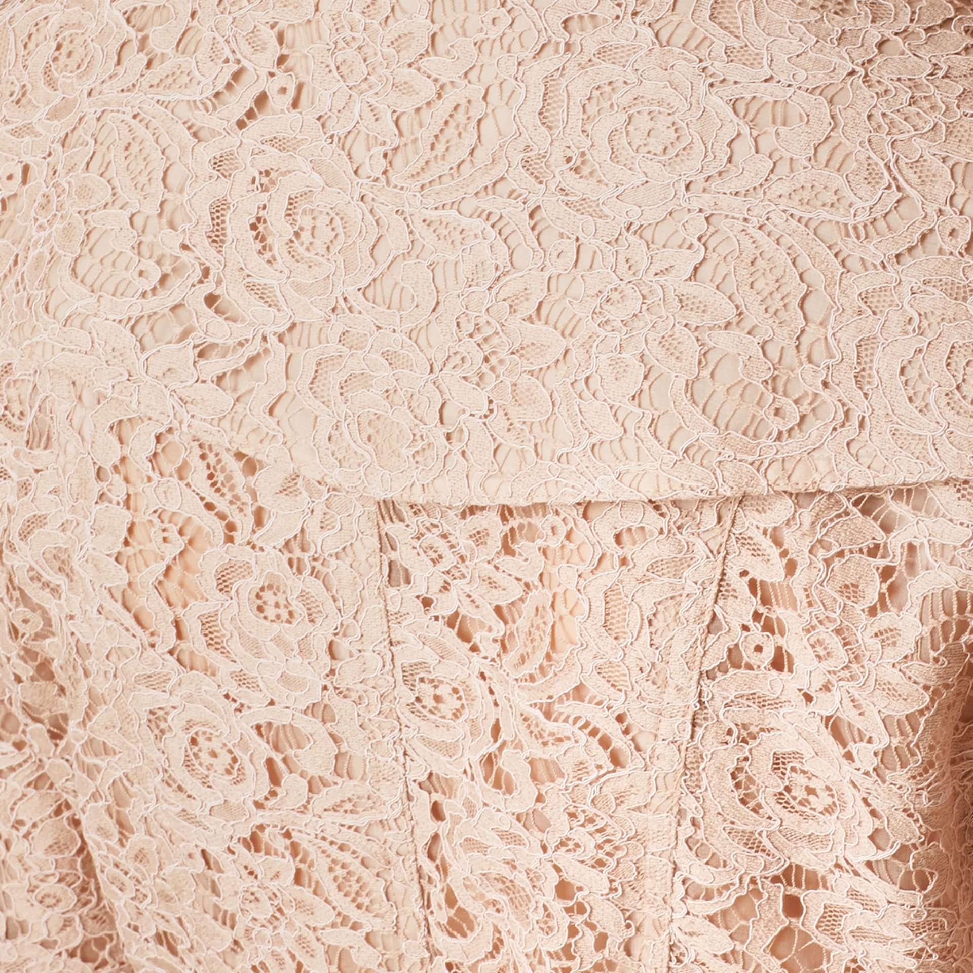 Antique taupe pink Scalloped-hem Italian Lace Trench Coat Antique Taupe Pink - gallery image 2