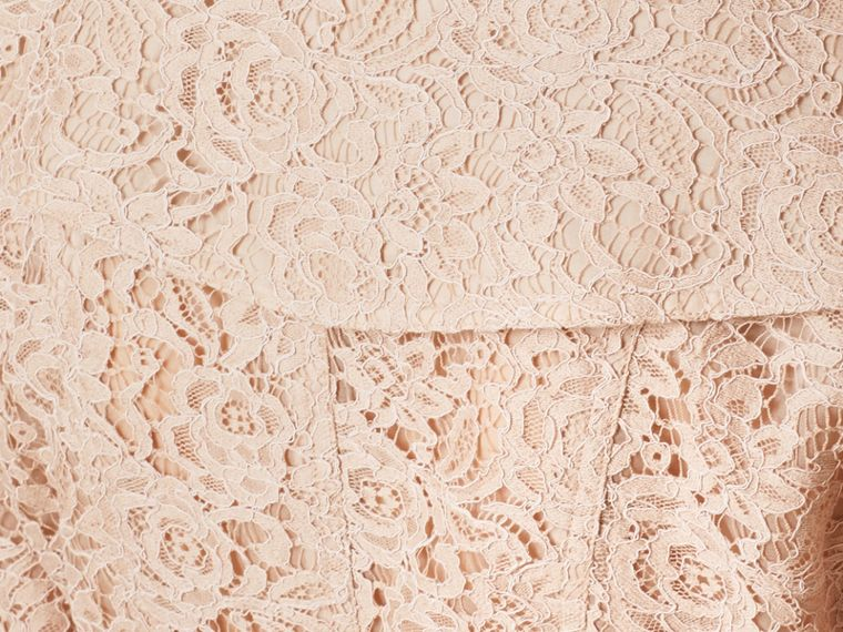 Antique taupe pink Scalloped-hem Italian Lace Trench Coat Antique Taupe Pink - cell image 1