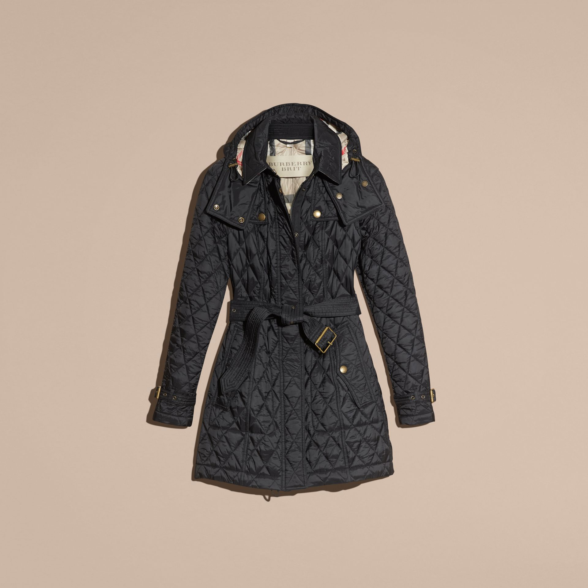 Diamond Quilted Coat Black - gallery image 4