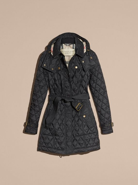 Diamond Quilted Coat Black - cell image 3