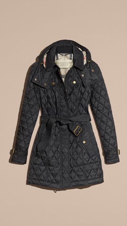 Black Diamond Quilted Coat Black - Image 4