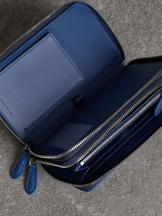 Grainy Leather Travel Wallet in Bright Ultramarine - Men | Burberry Australia - cell image 3