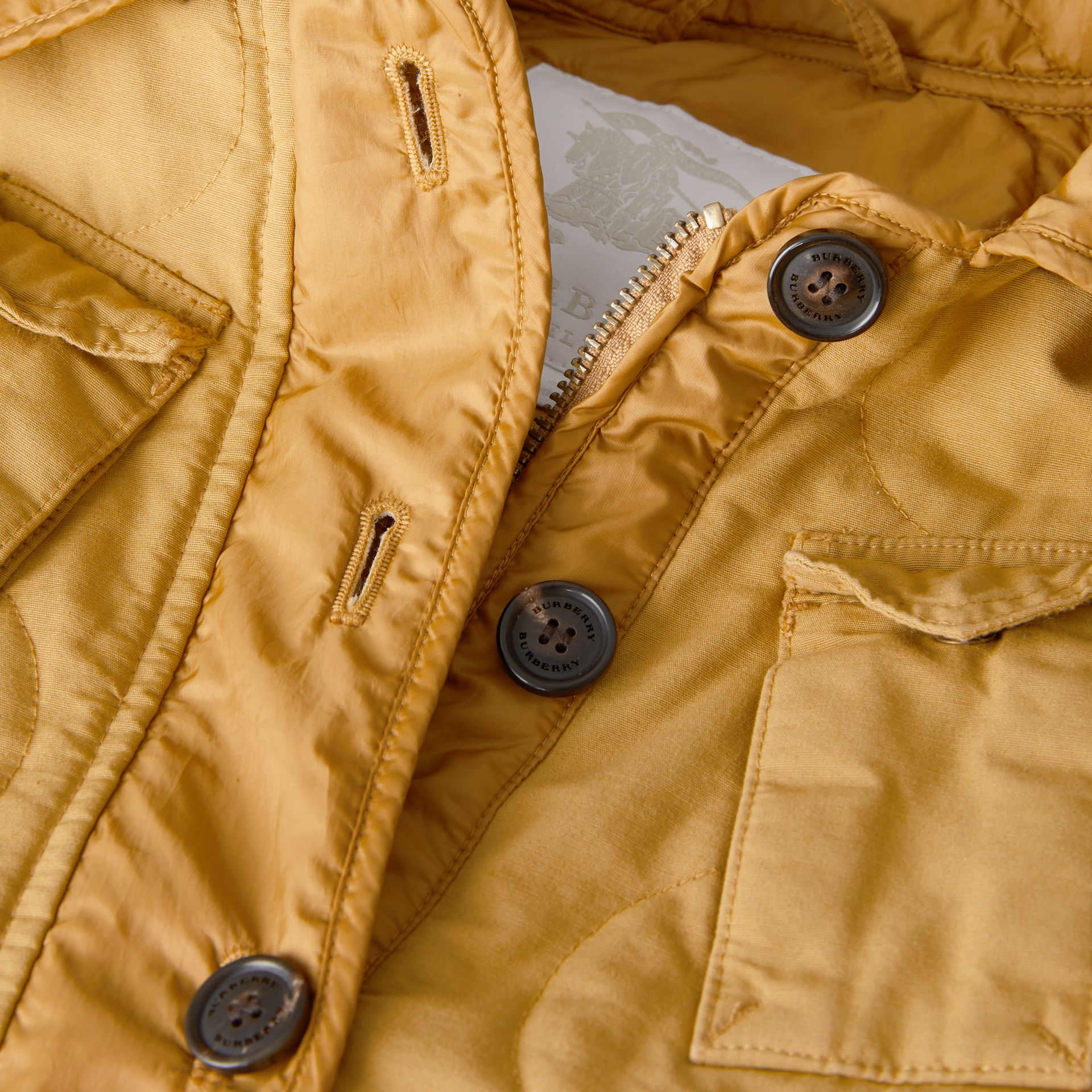 Military Quilted Cotton Coat in Amber Yellow | Burberry - gallery image 1