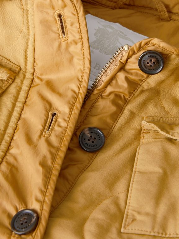 Military Quilted Cotton Coat in Amber Yellow | Burberry United Kingdom - cell image 1