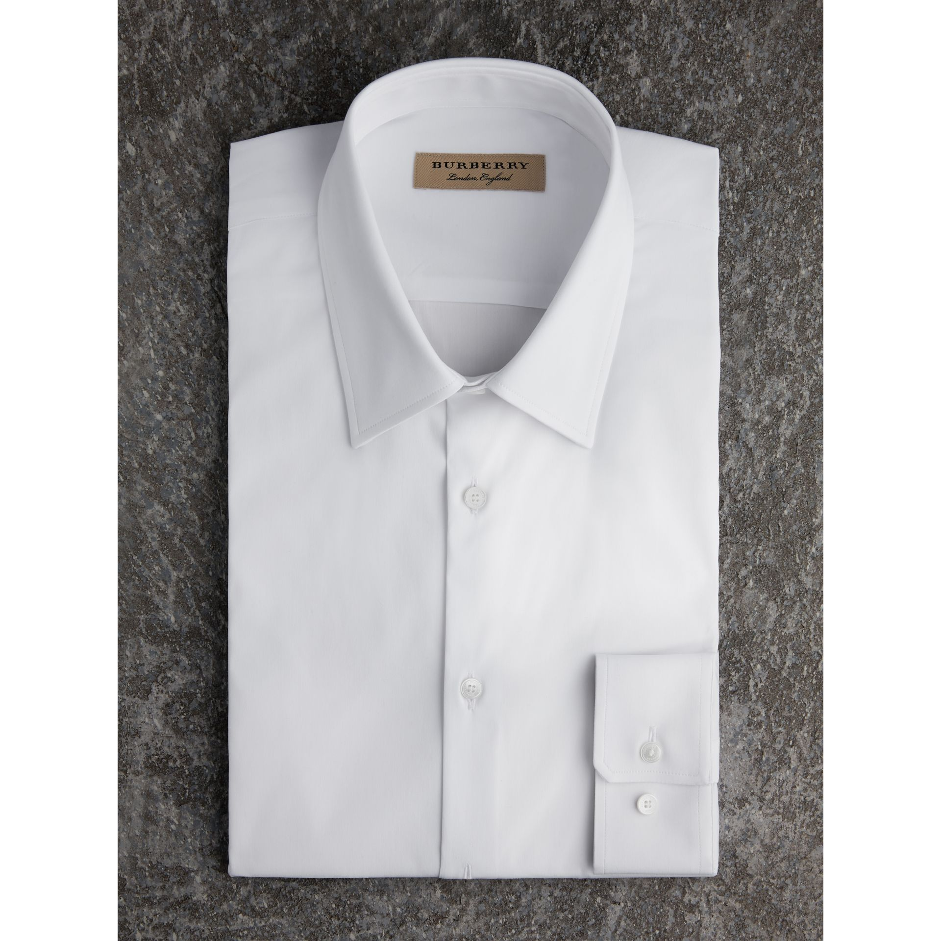 Slim Fit Stretch Cotton Shirt in White - Men | Burberry - gallery image 1