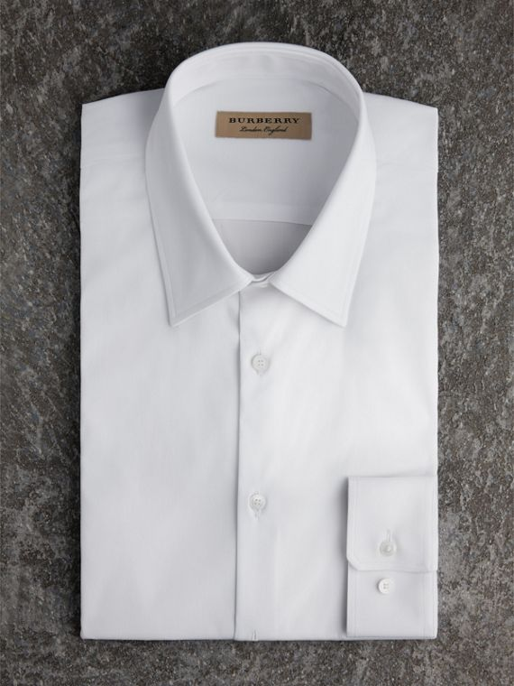Slim Fit Stretch Cotton Shirt in White - Men | Burberry Canada