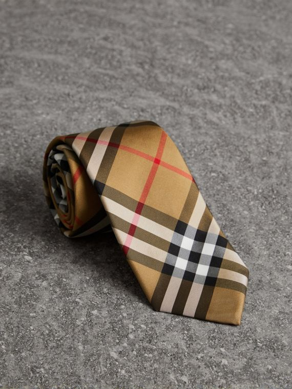 Modern Cut Vintage Check Silk Tie in Antique Yellow