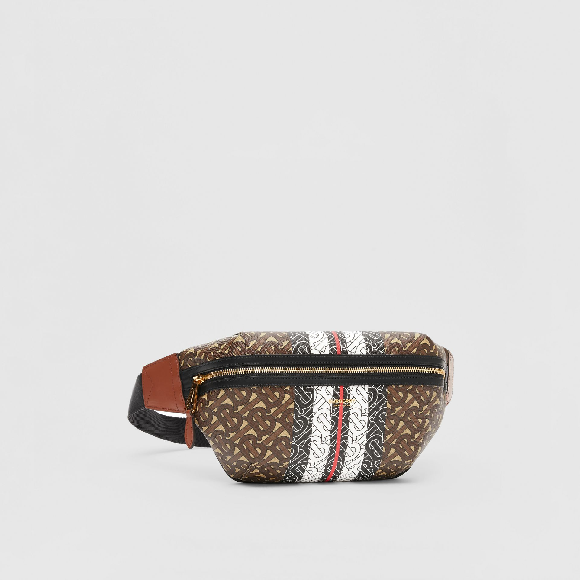 Medium Monogram Stripe E-canvas Bum Bag in Brown | Burberry Singapore - gallery image 8