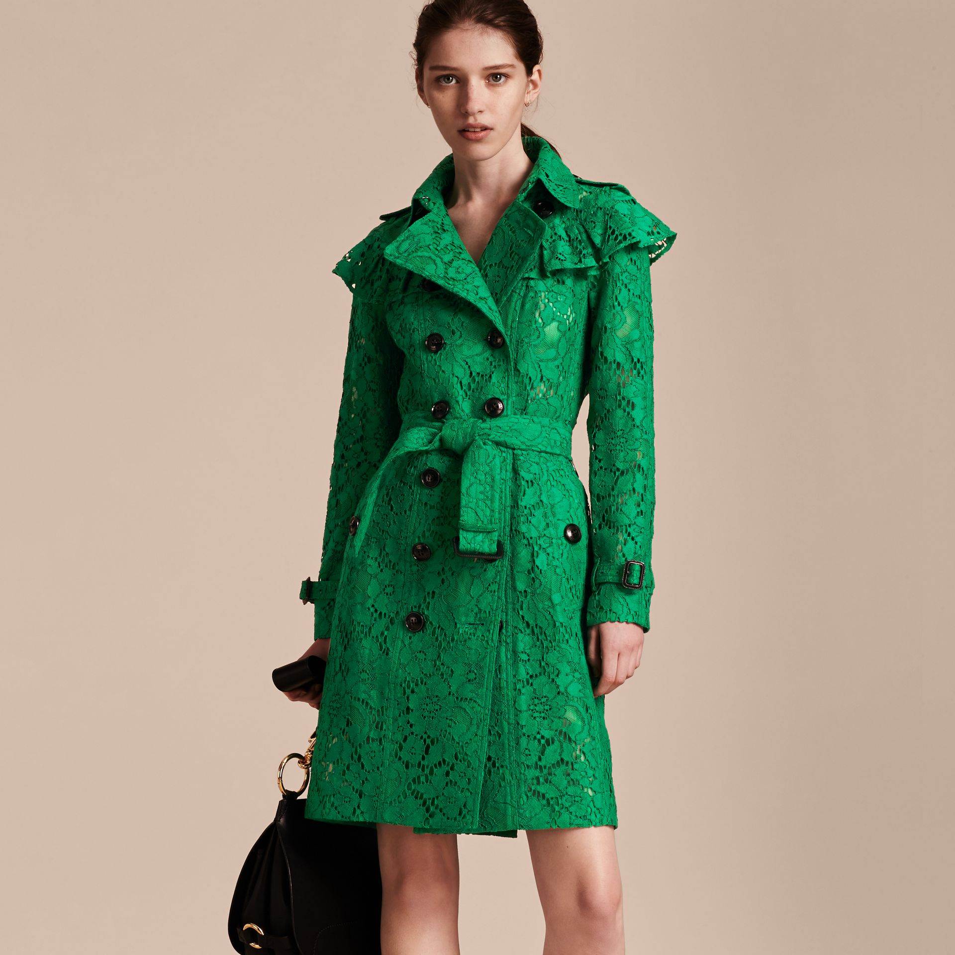 Ruffle Detail Macramé Lace Trench Coat Kelly Green - gallery image 7
