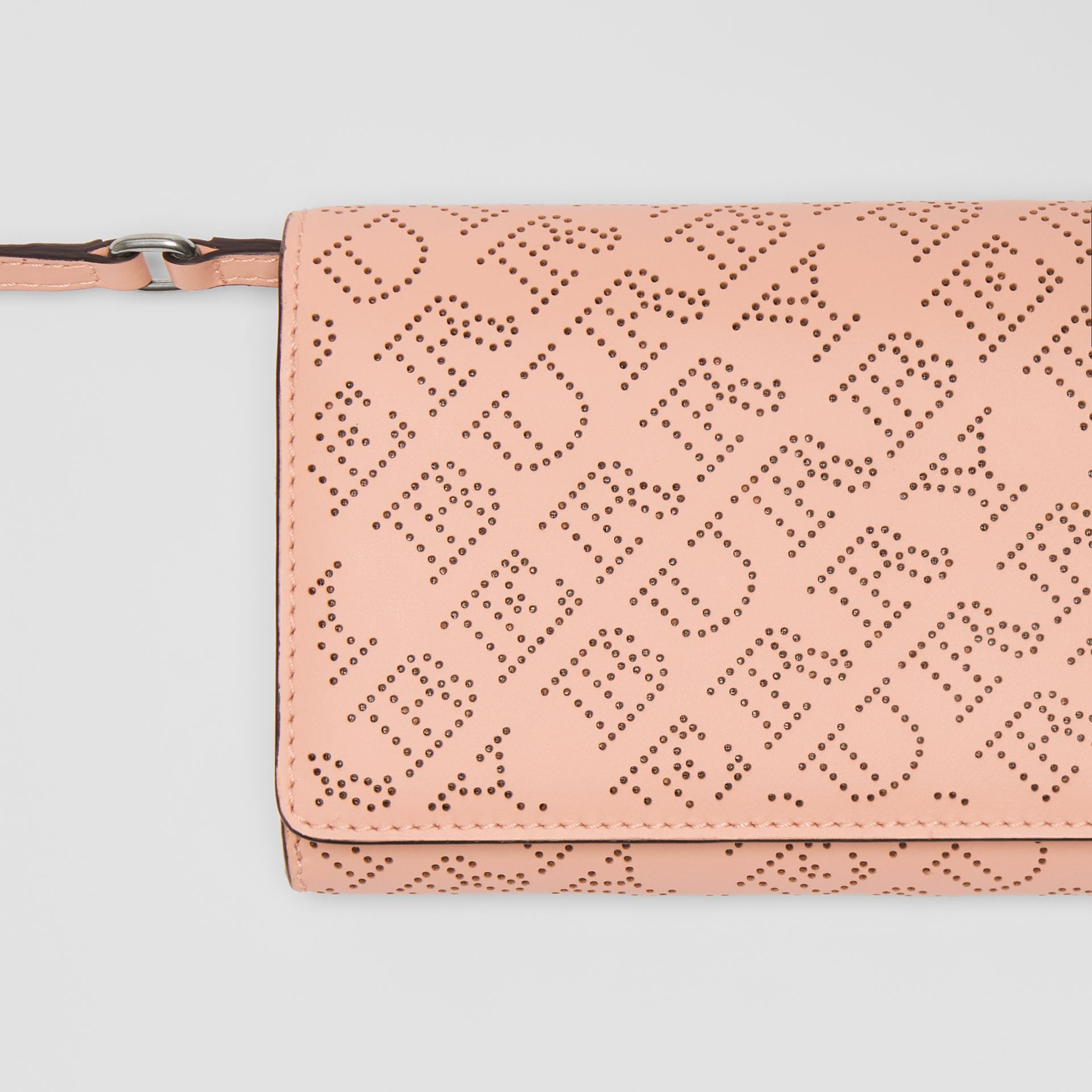 Perforated Logo Leather Wallet with Detachable Strap in Pale Fawn Pink - Women | Burberry United Kingdom - gallery image 1
