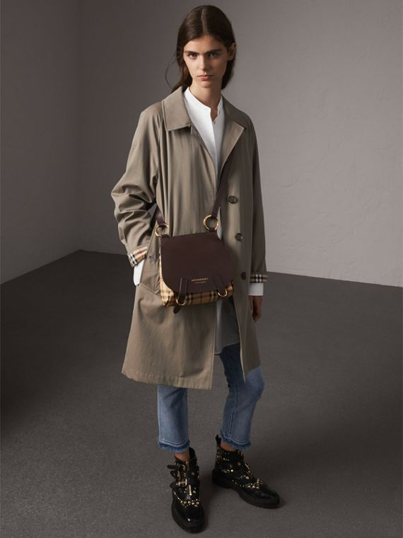 The Bridle Crossbody Bag in Haymarket Check in Dark Clove Brown - Women | Burberry Australia - cell image 2