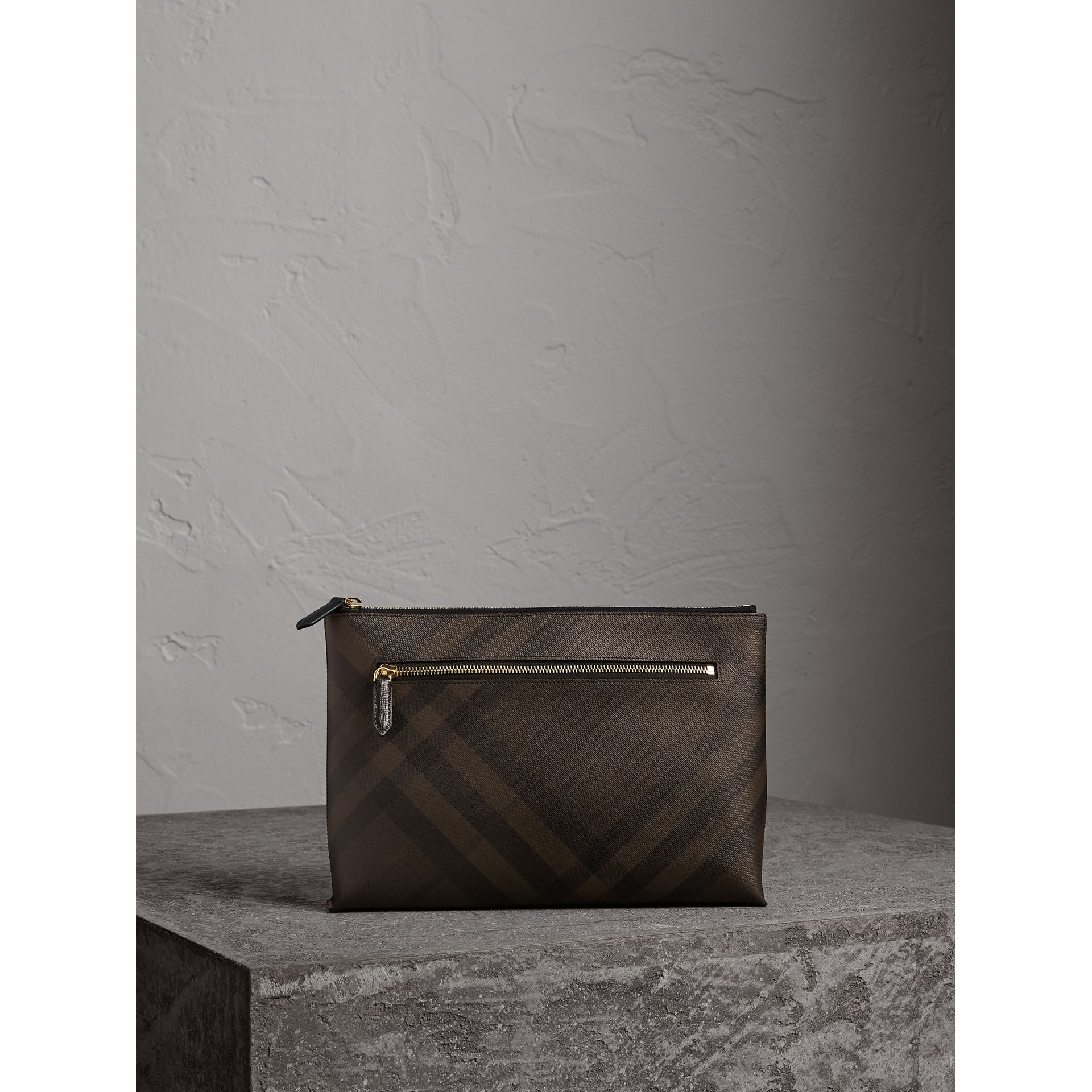 Large London Check Zip Pouch in Chocolate/black - Men | Burberry - gallery image 0