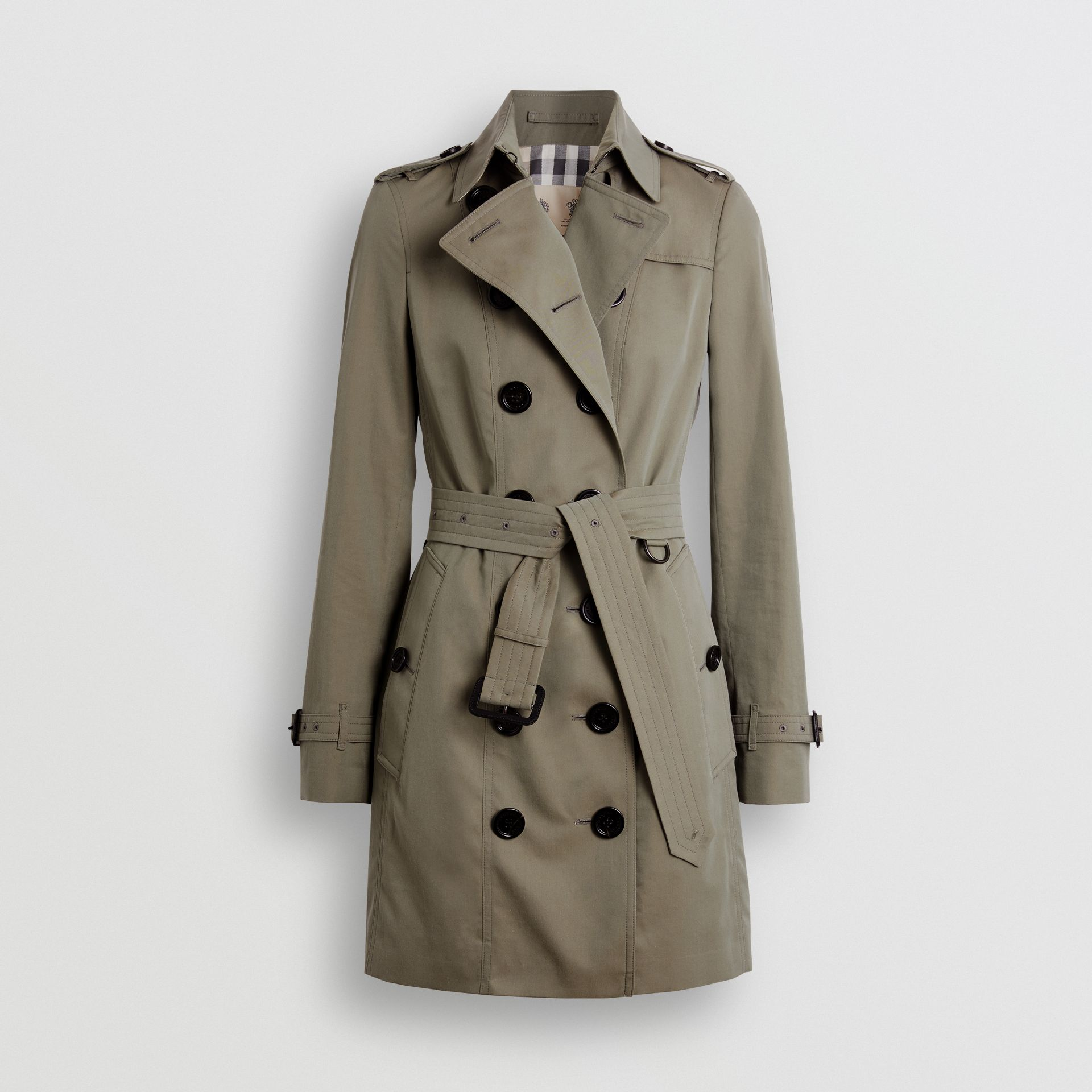 Sandringham Fit Cotton Gabardine Trench Coat in Chalk Green - Women | Burberry - gallery image 3