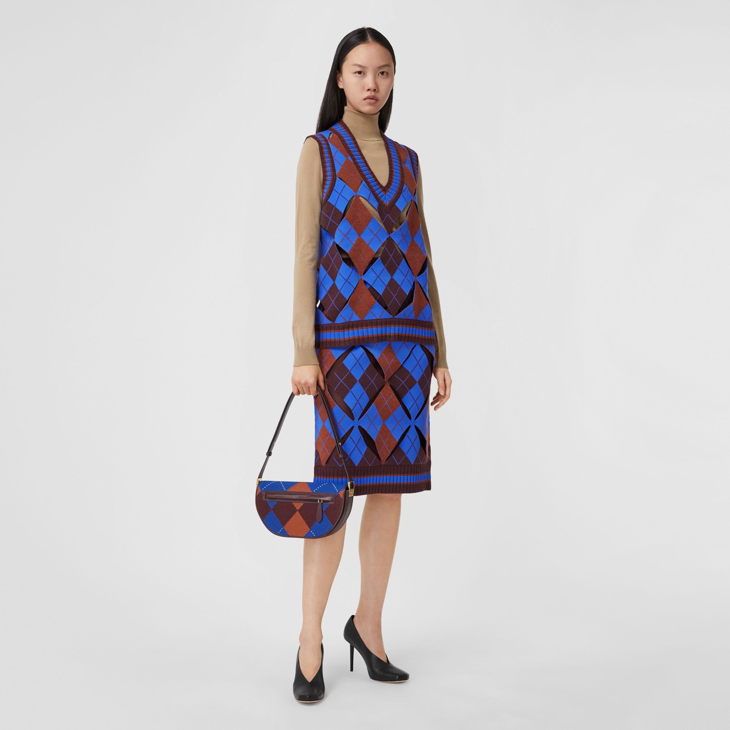 Cut-out Detail Argyle Technical Wool Jacquard Skirt in Bright Blue - Women | Burberry - 1