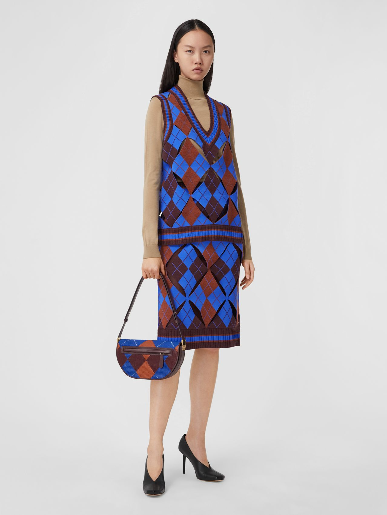 Cut-out Detail Argyle Technical Wool Jacquard Skirt in Bright Blue