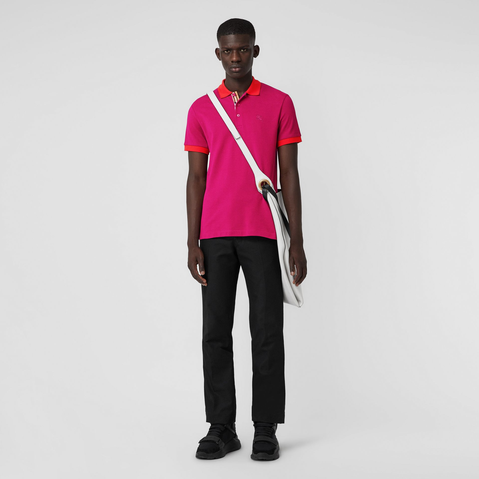 Contrast Collar Cotton Polo Shirt in Plum Pink - Men | Burberry - gallery image 0