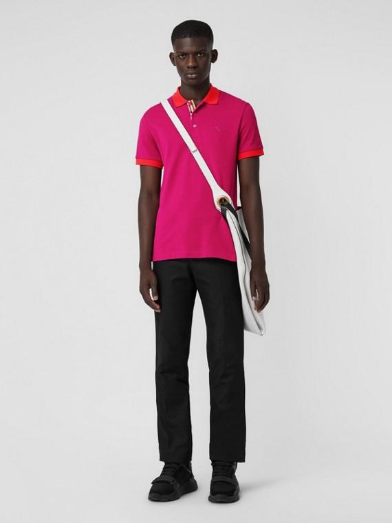 Polo in cotone con colletto a contrasto (Rosa Prugna)
