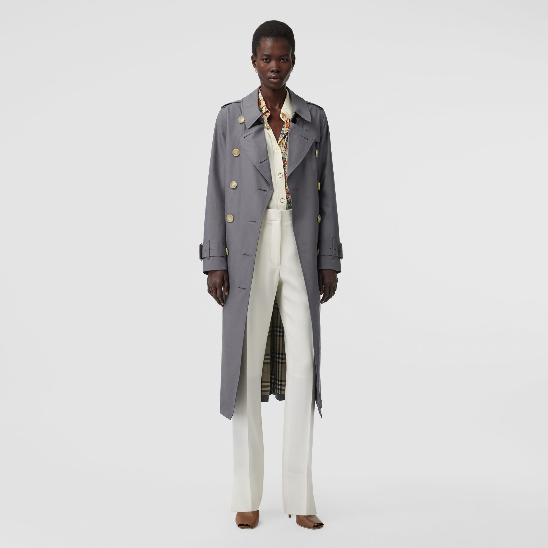 Tropical Gabardine Trench Coat in Mid Grey - Women | Burberry Singapore - gallery image 0