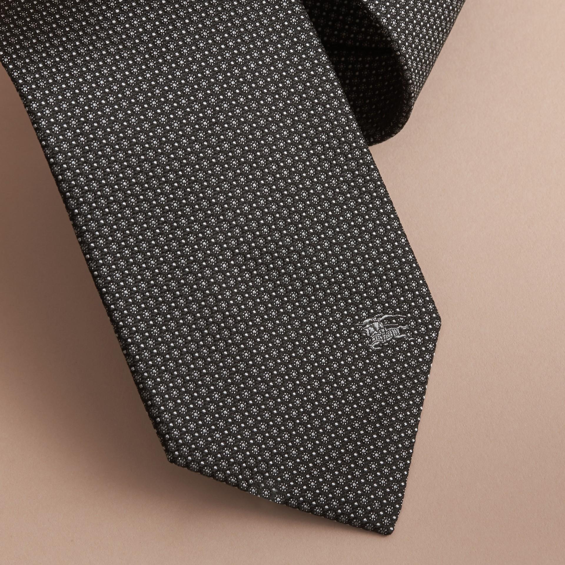 Gravata de seda estampada com corte clássico (Preto) - galeria de imagens 2