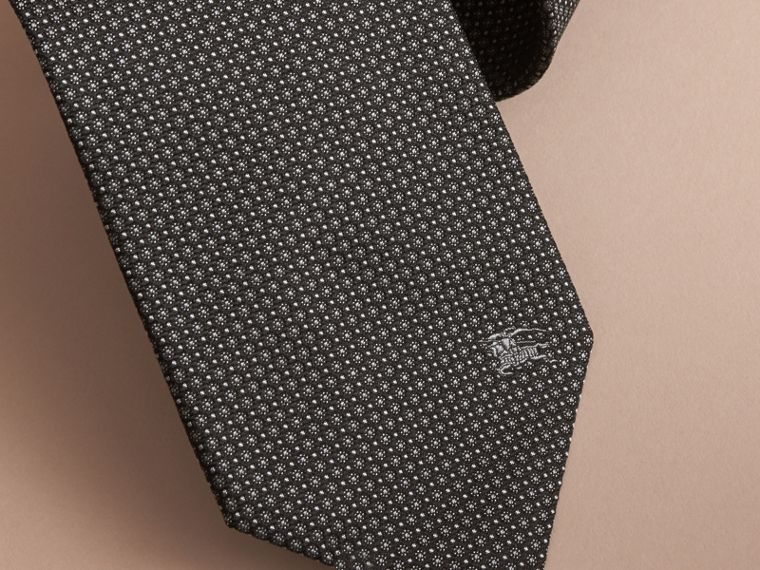Classic Cut Patterned Silk Tie in Black - Men | Burberry Australia - cell image 1
