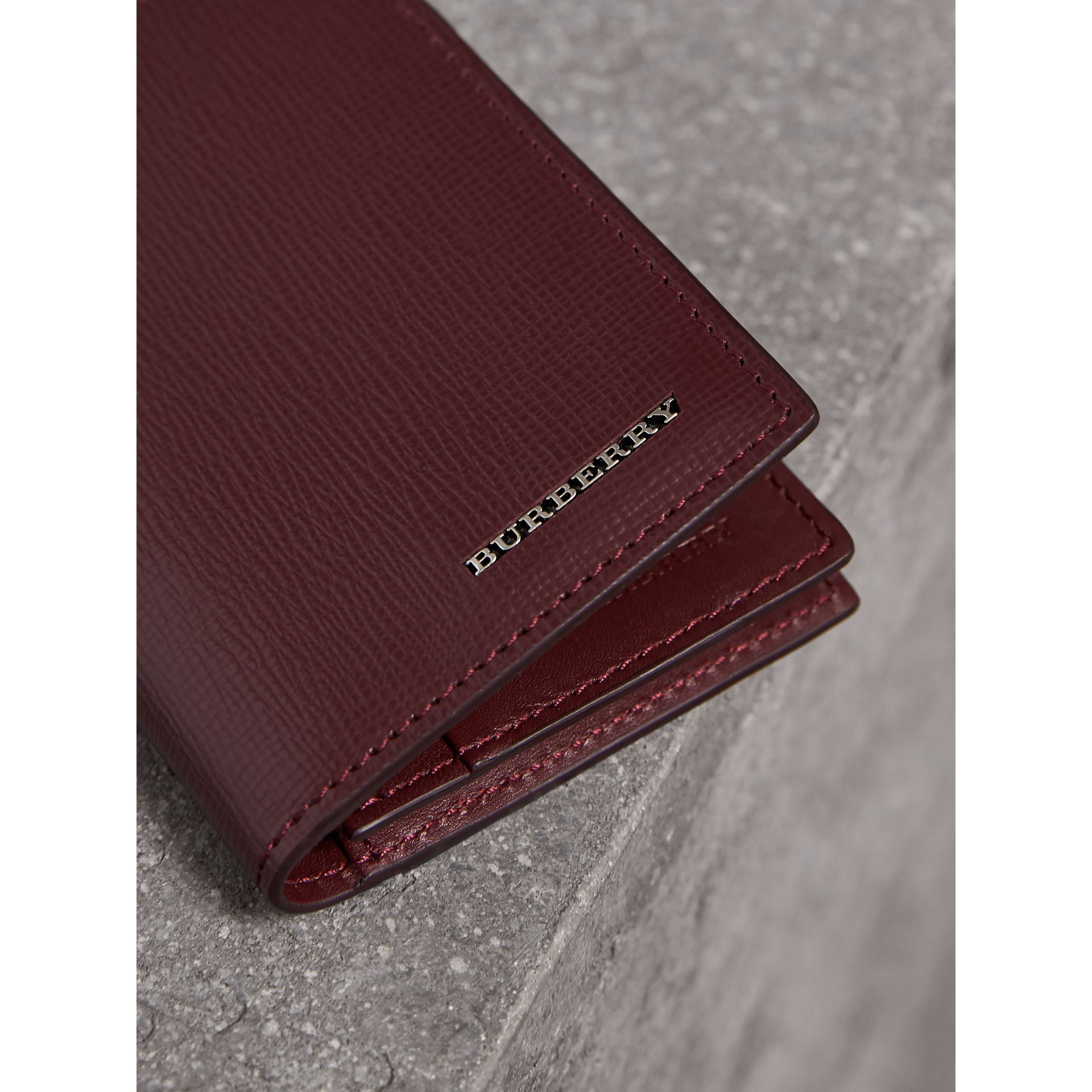 London Leather Folding Card Case in Burgundy Red | Burberry - gallery image 1