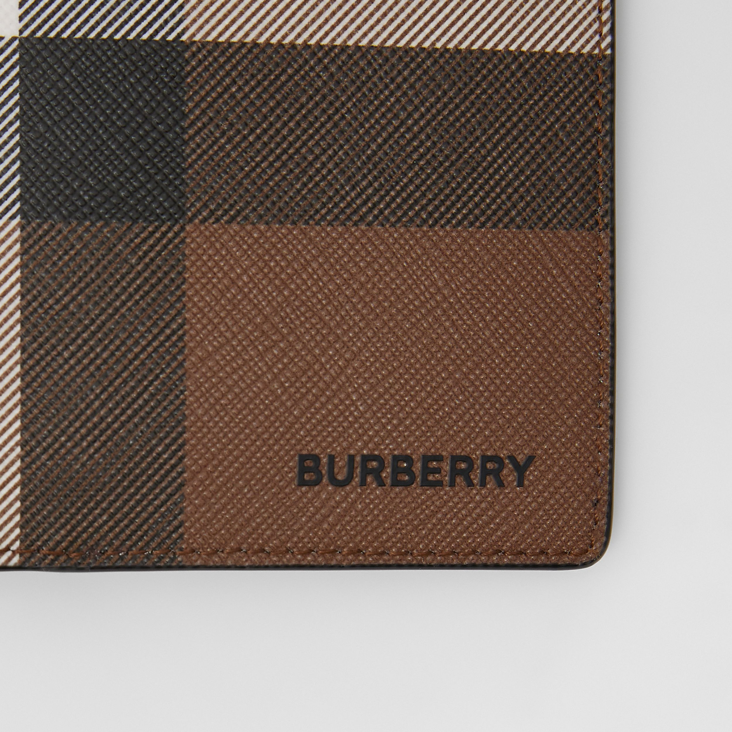 Check E-canvas Continental Wallet in Dark Birch Brown - Men | Burberry - 3