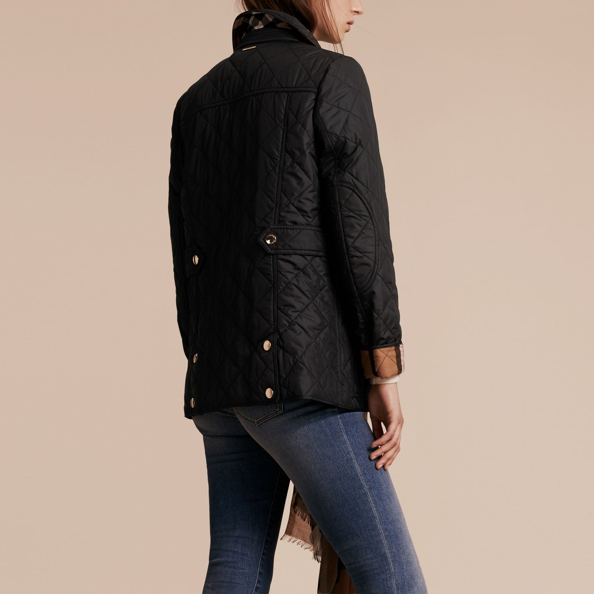 Black Check Detail Diamond Quilted Jacket Black - gallery image 3