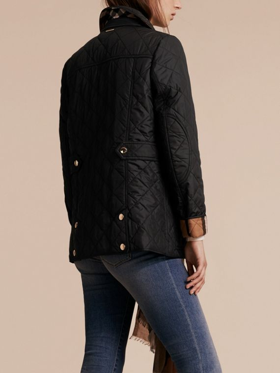 Black Check Detail Diamond Quilted Jacket Black - cell image 2