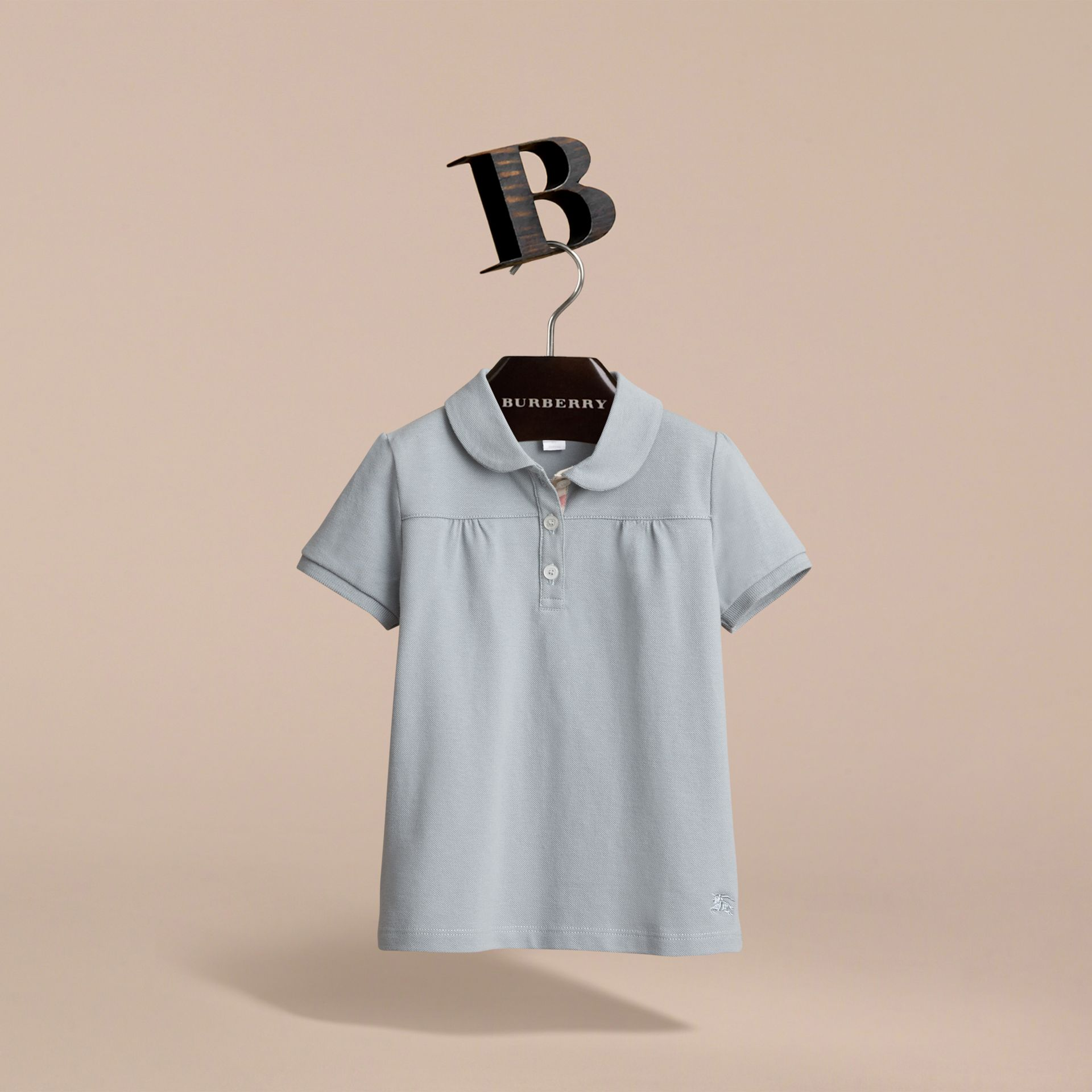 Peter Pan Collar Cotton Piqué Polo Shirt in Pale Slate Blue - Girl | Burberry - gallery image 2