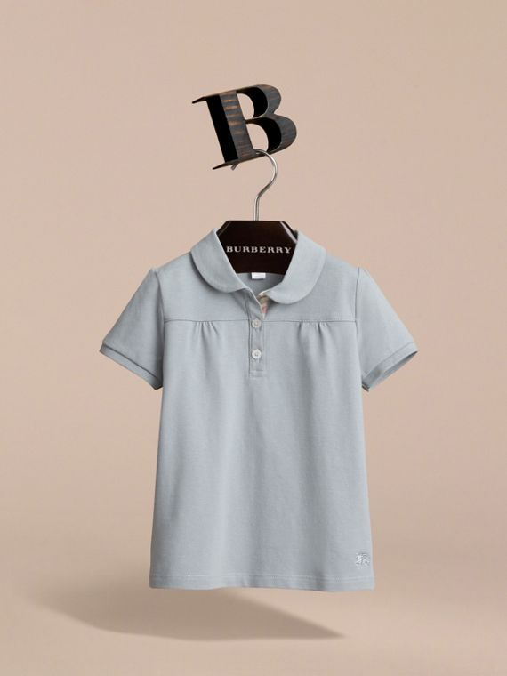 Peter Pan Collar Cotton Piqué Polo Shirt in Pale Slate Blue - Girl | Burberry - cell image 2