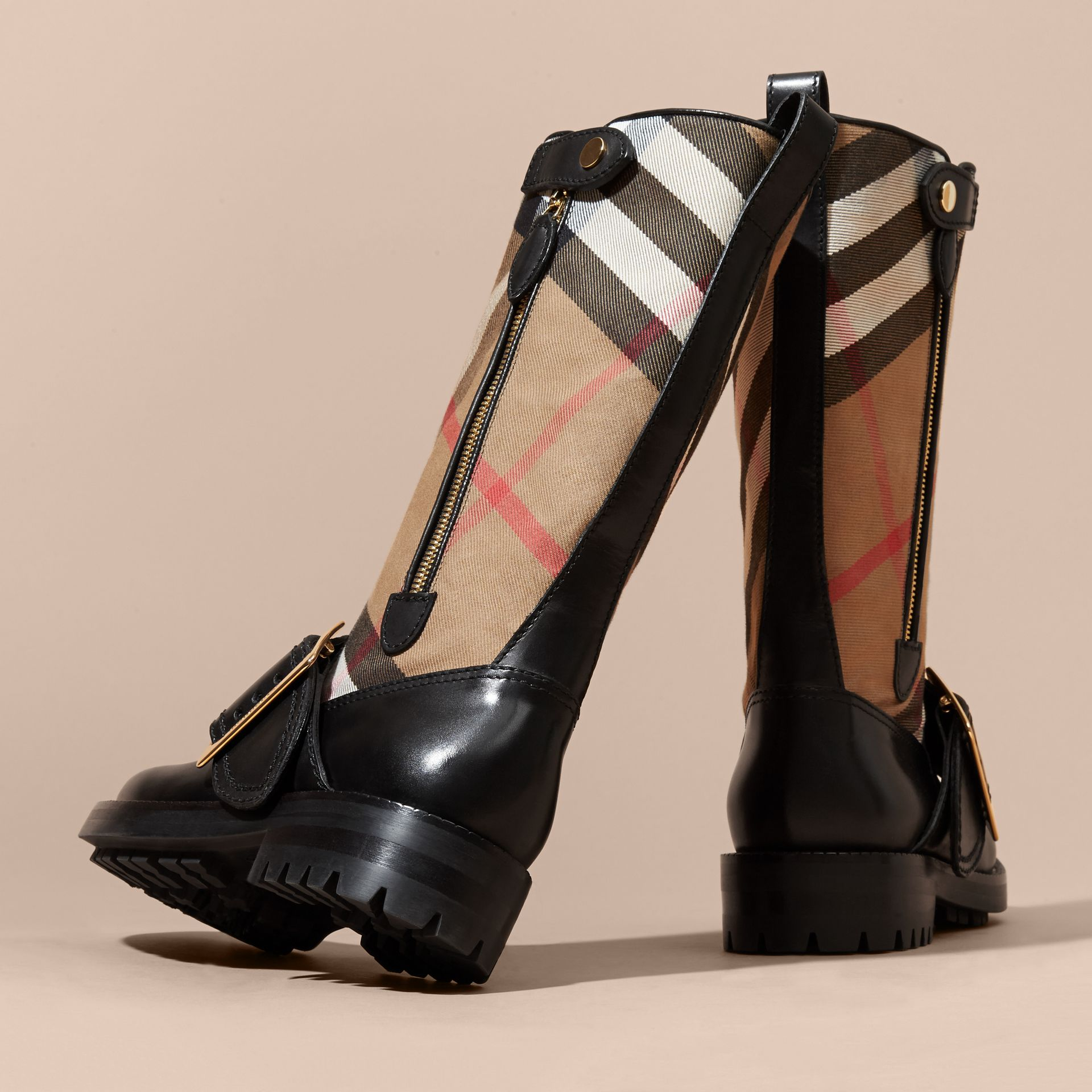 House Check Buckle Detail Leather Boots in Classic - Women | Burberry - gallery image 4