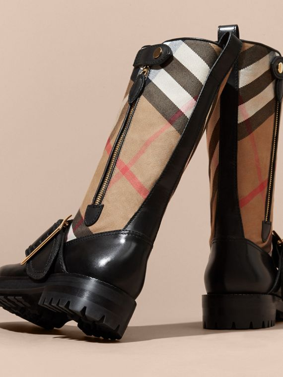 House Check Buckle Detail Leather Boots in Classic - Women | Burberry - cell image 3