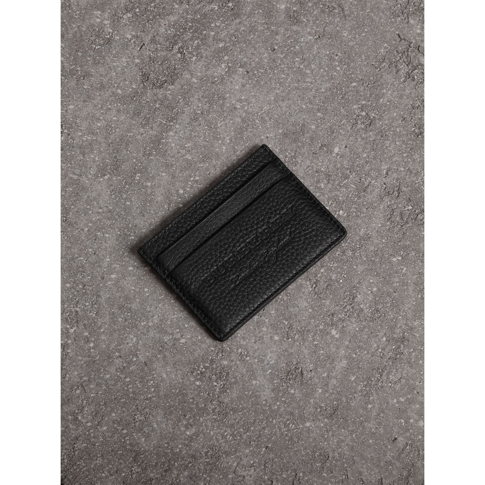 Embossed Textured Leather Card Case in Black - Women | Burberry - gallery image 1