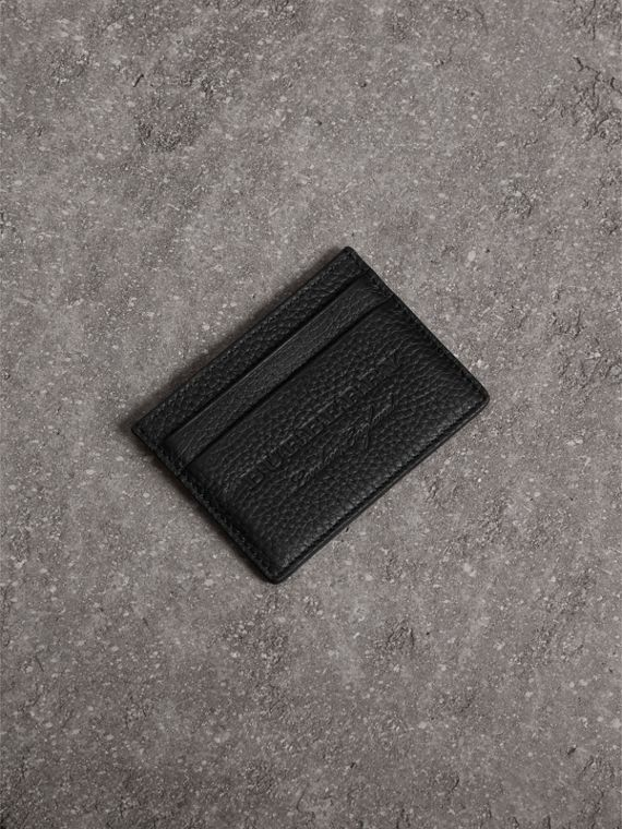 Embossed Textured Leather Card Case in Black