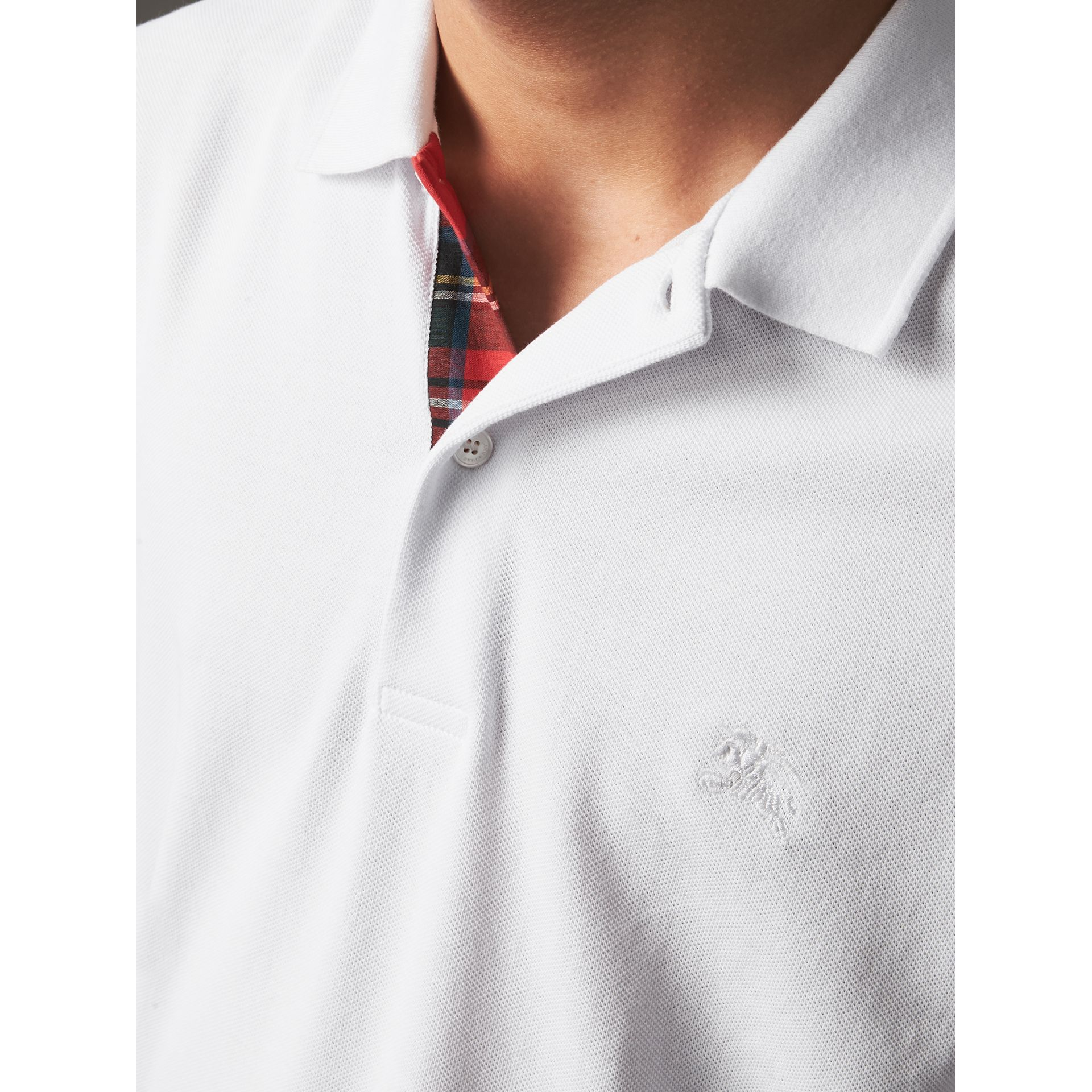 Tartan Trim Cotton Piqué Polo Shirt in White - Men | Burberry - gallery image 1