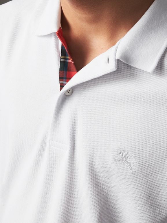 Tartan Trim Cotton Piqué Polo Shirt in White - Men | Burberry - cell image 1