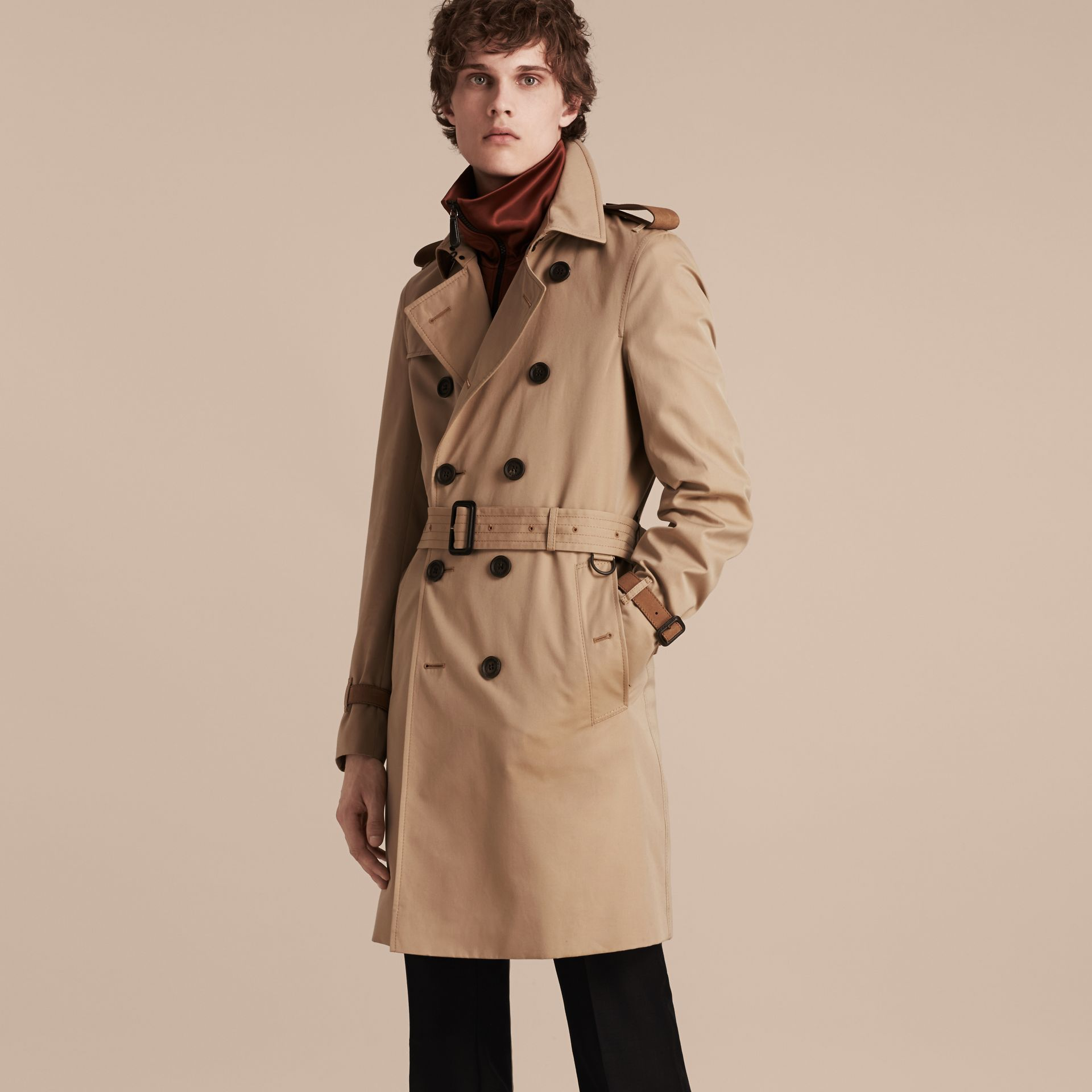 Honey Leather-trimmed Cotton Trench Coat - gallery image 7