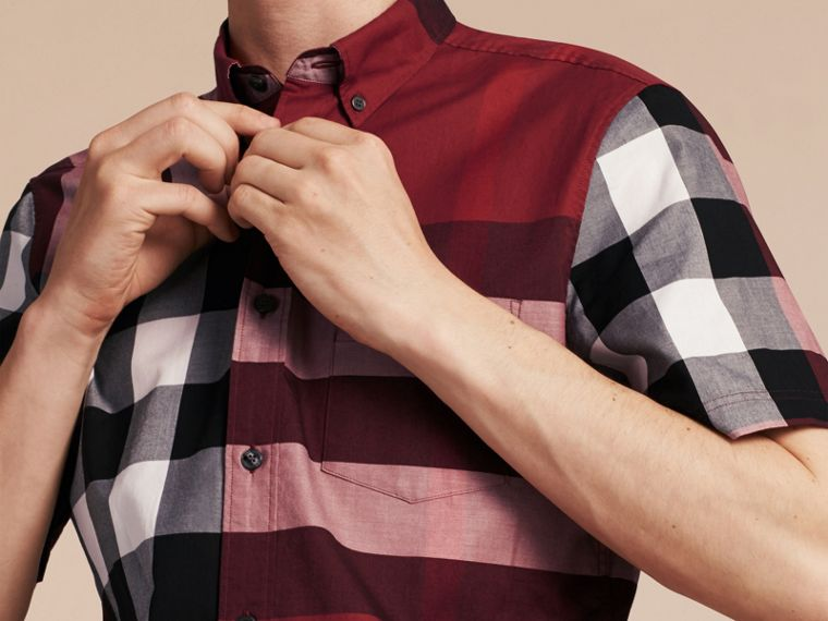 Berry red Short-sleeved Check Cotton Shirt Berry Red - cell image 4