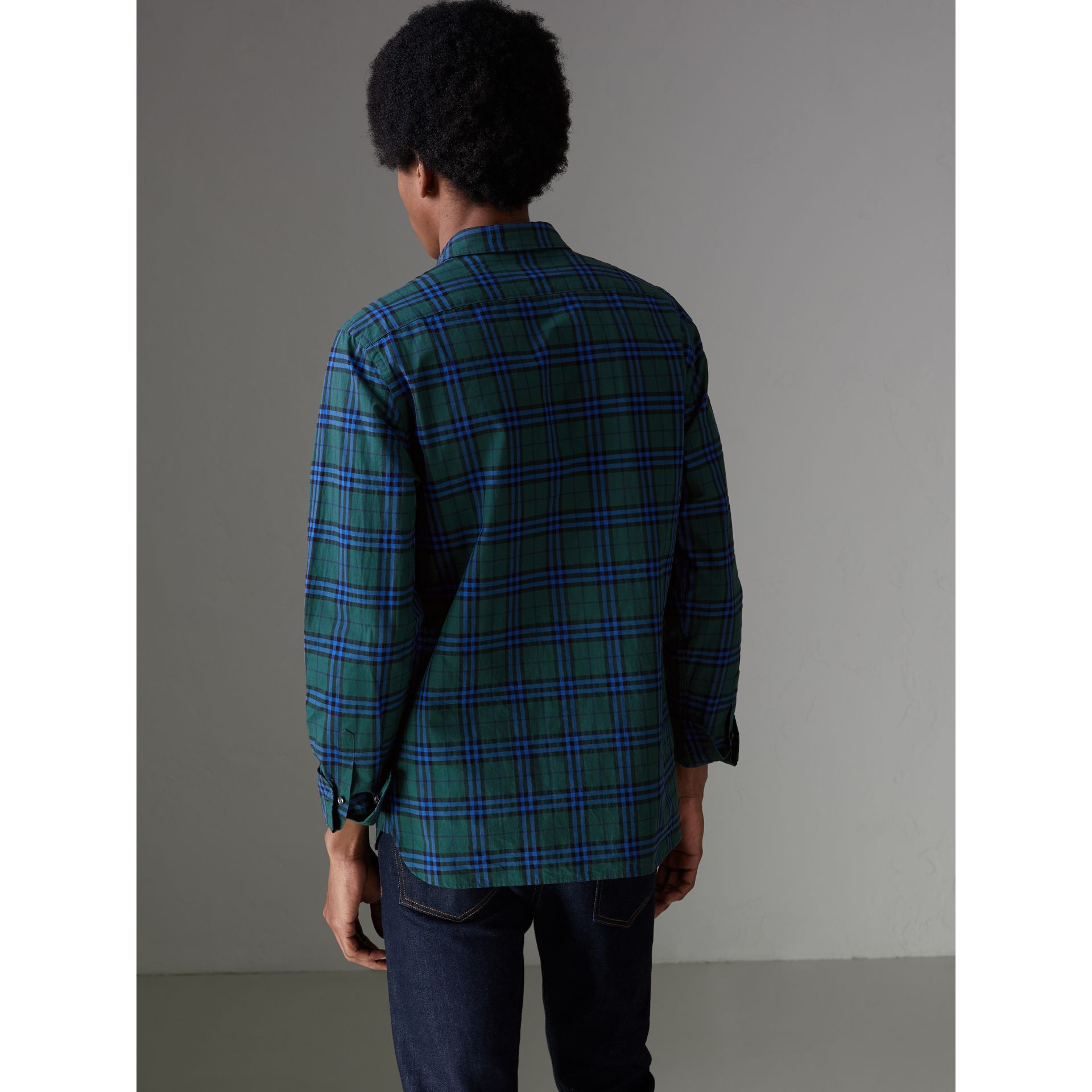 Check Cotton Shirt in Forest Green - Men | Burberry - gallery image 2