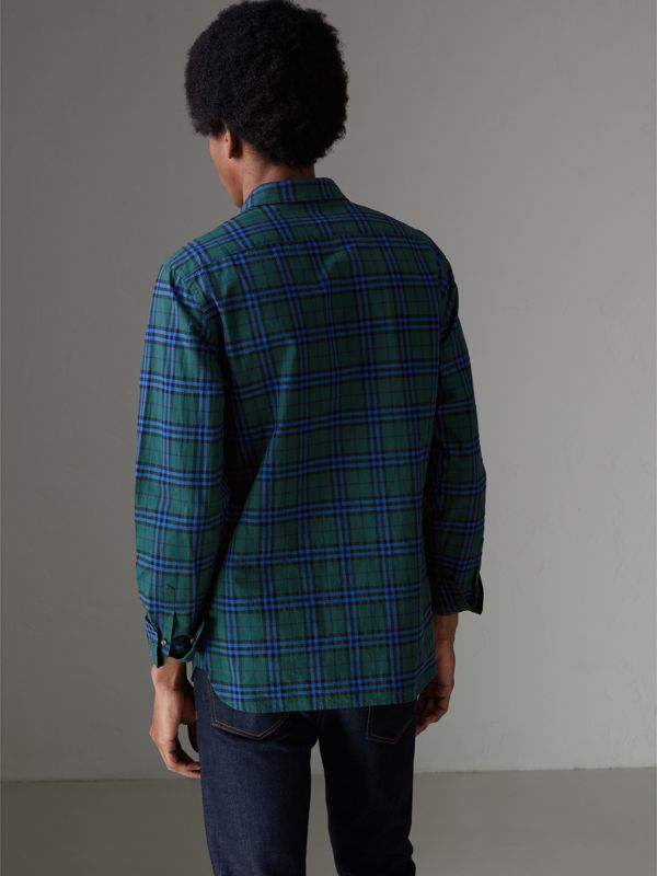 Check Cotton Shirt in Forest Green - Men | Burberry - cell image 2